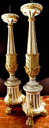 Pair of fine, Italian, Neoclassical period, painted and parcel-gilded pique cierges (candlesticks)