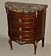 Very fine, French, Louis XVI period, bronze-mounted demi-lune commode
