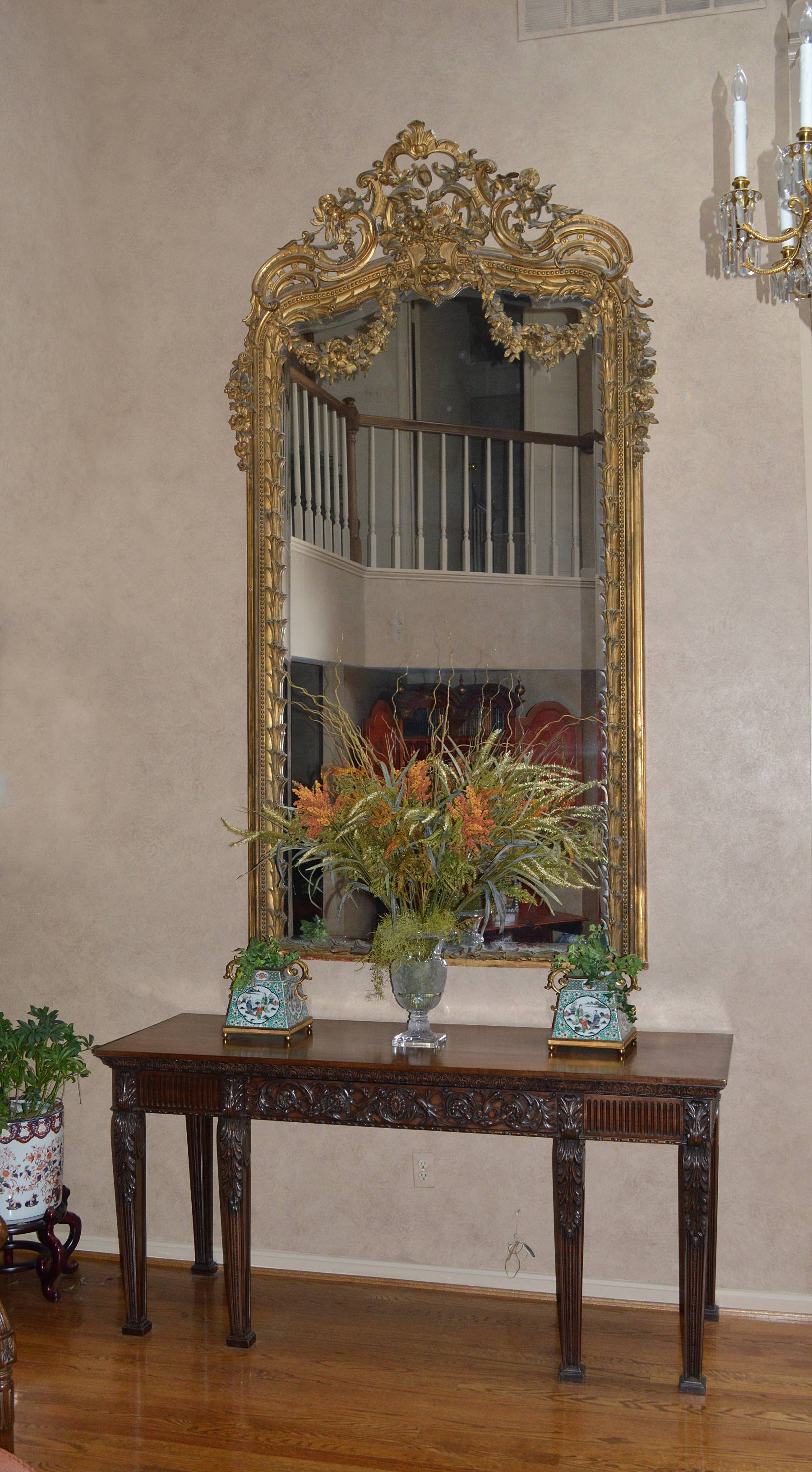 Louis Xv Style Giltwood And Gilt Gesso Pier Mirror Of