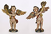 Pair of very fine, Spanish Baroque period, polychrome painted and parcel-gilded angels