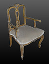 Pair of Italian, Rococo style, painted and silvered fauteuils