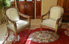 Pair of fine, Northern Italian, Neoclassical period, painted and parcel gilded fauteuils