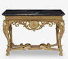 French Régence giltwood table with nero antico marble top