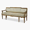 Italian Neoclassical painted and parcel-gilt silk upholstered settee
