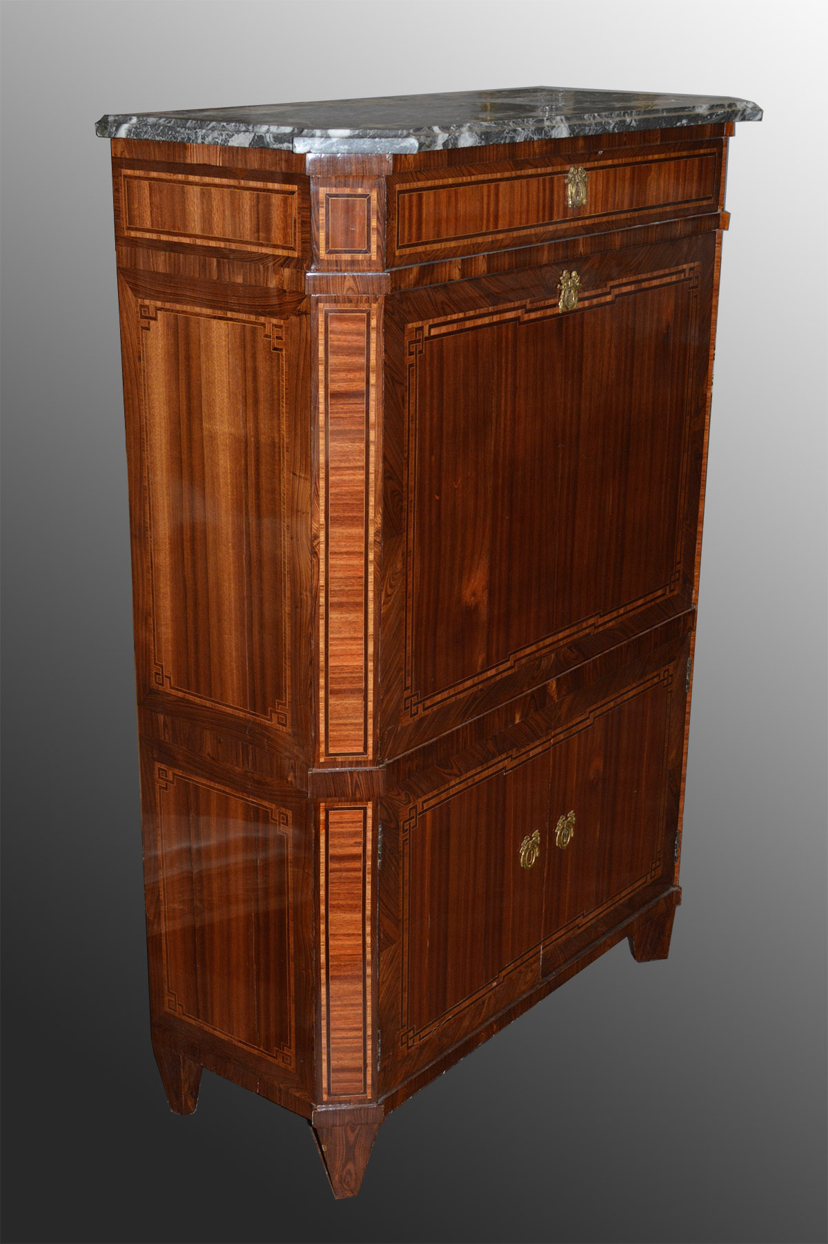 French, Louis XVI period, marquetry-inlaid secretaire abattant