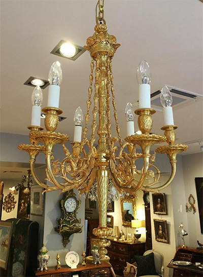 French, Louis XVI style bronze d'ore chandelier