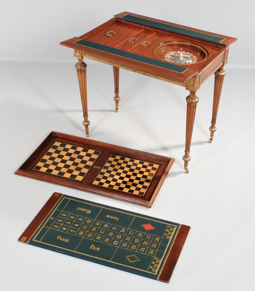 Louis XVI-style Mahogany and Brass-inlaid Game Table