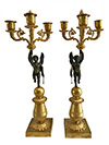 Pair of French, Empire period, bronze d'ore candelabra