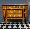 French, Louis XVI period, demi-lune, marquetry-inlaid commode