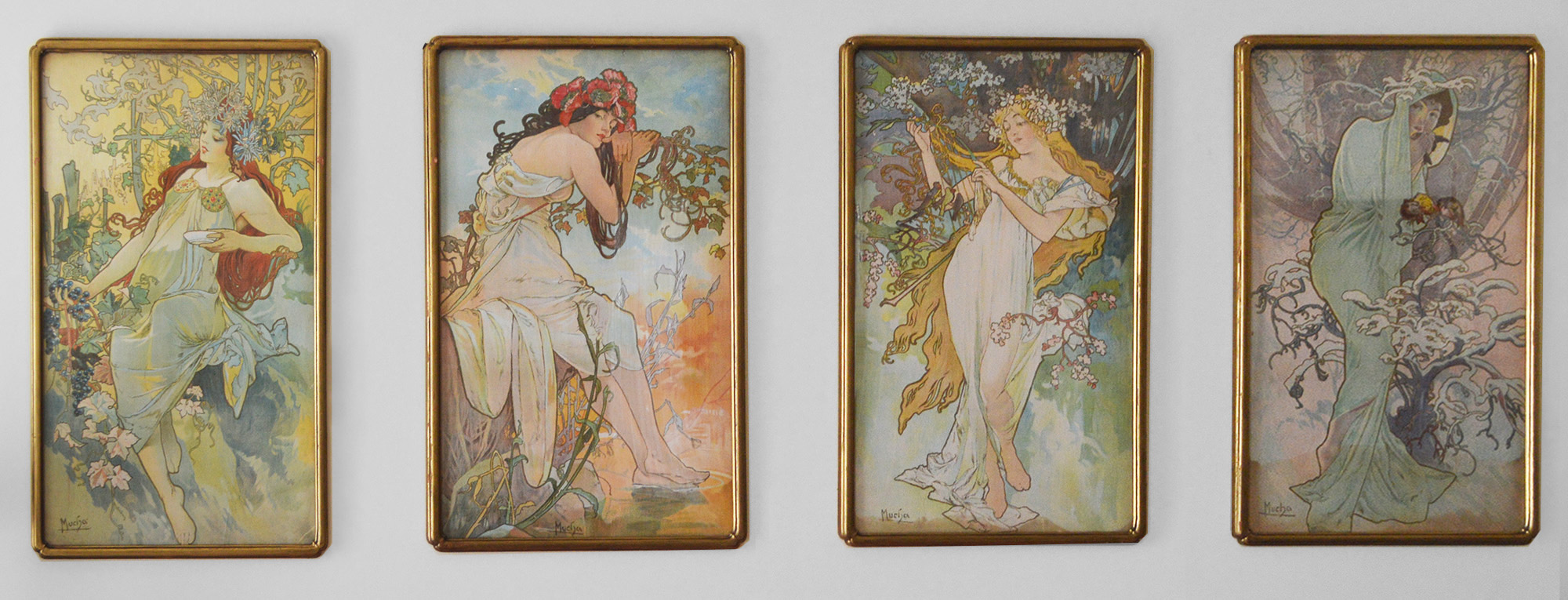Set of four Art Nouveau period lithographs on fabric