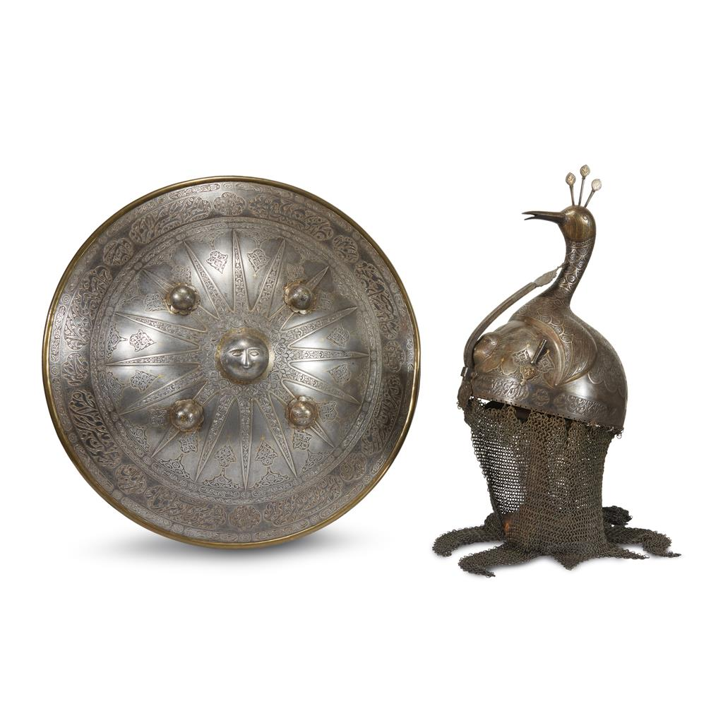 Quajar Silver and Gold-Overlaid Steel Helmet (Dahl) and Matching Shield (Khula Khud)