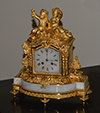 French, Louis XVI style, gilt bronze and alabaster mantle clock