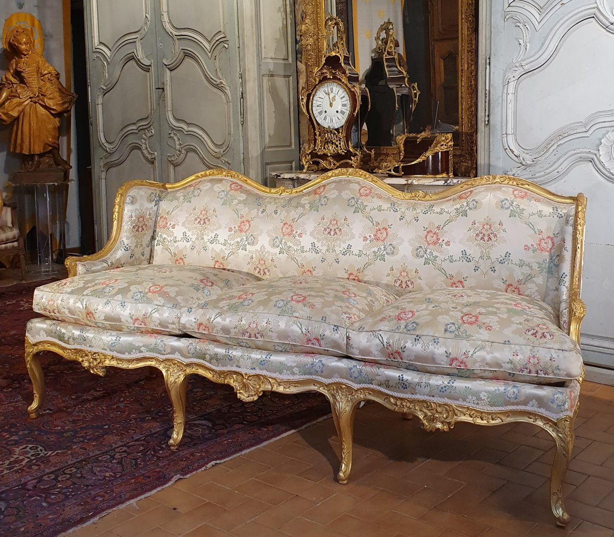 French, Louis XV period, giltwood canape