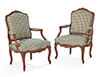 Pair of French, Louis XV period fauteuils