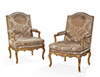 Pair of French, Regence period fauteuils a la Reine