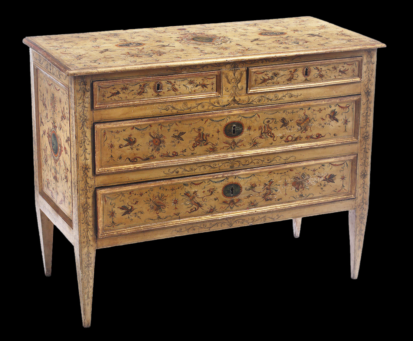 Italian, Neoclassical period, painted and parcel-gilt chest of drawers