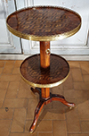 French, Louis XVI period, adjustable, marquetry-inlaid pedestal table