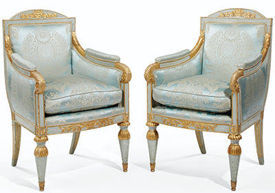 Pair of Northern Italian, Neoclassical period, blue-painted and parcel-gilded bergeres