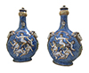 Pair of French, Faience, covered jars (pilgrim flasks)