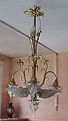 French, Art Nouveau, bronze d'ore chandelier