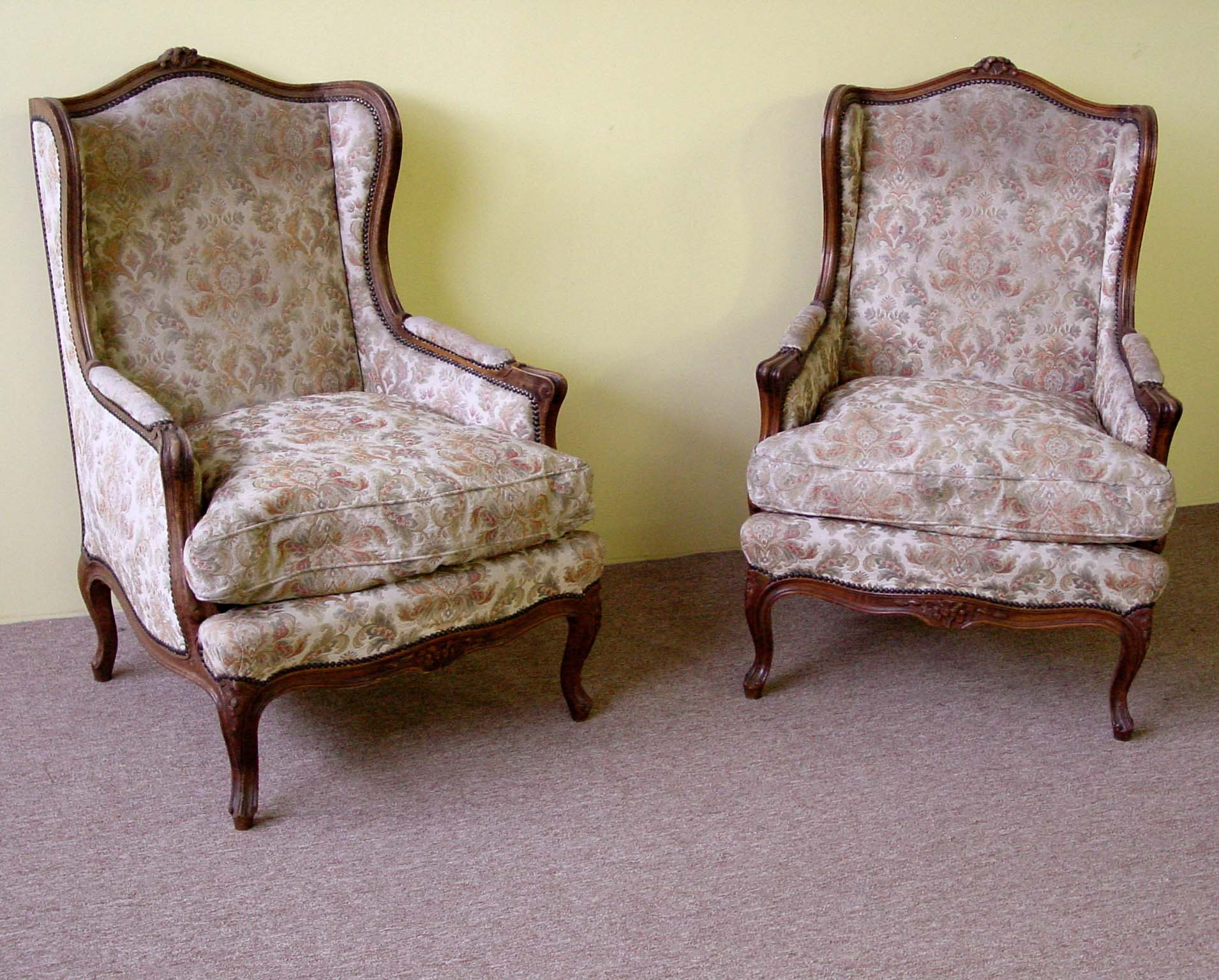 pair of large louis xv style wingback chairs. Black Bedroom Furniture Sets. Home Design Ideas