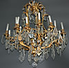 French, Louis XV style, bronze d'ore and cut glass, twelve-light chandelier
