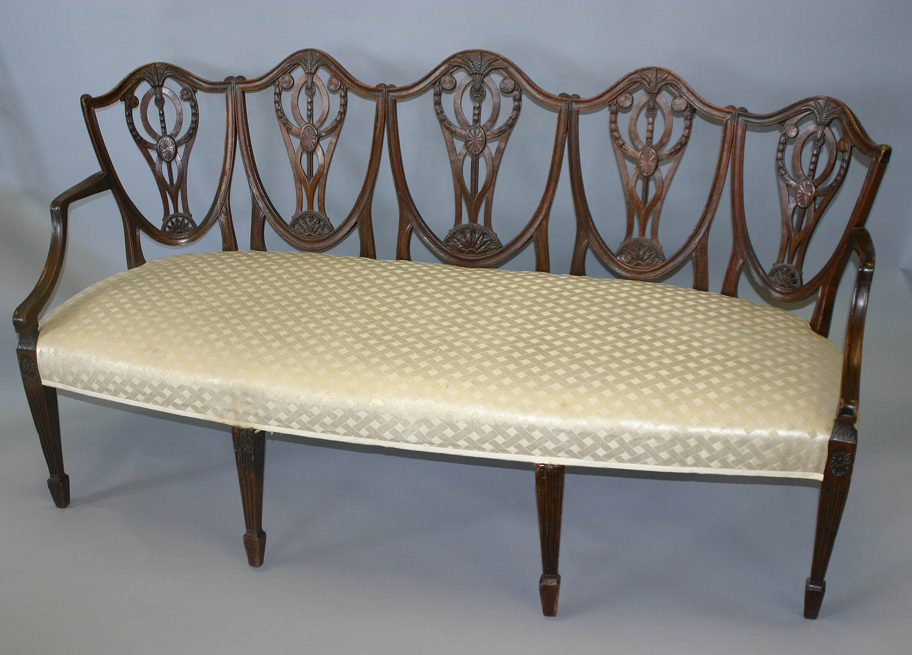 Rare, George III period, chair-back settee