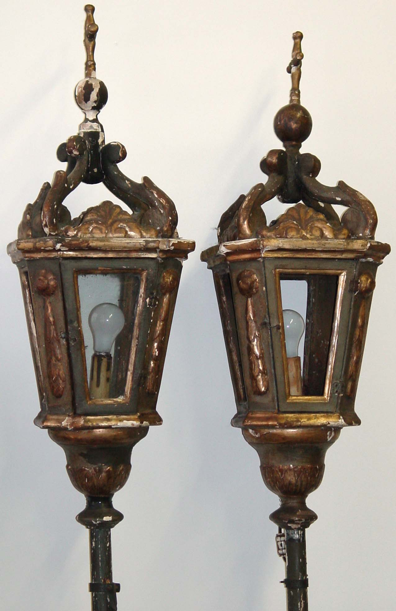 Pair of Venetian, Neoclassical Gondola lanterns