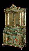 Italian, chinoiserie, painted and parcel-gilt secretaire bookcase