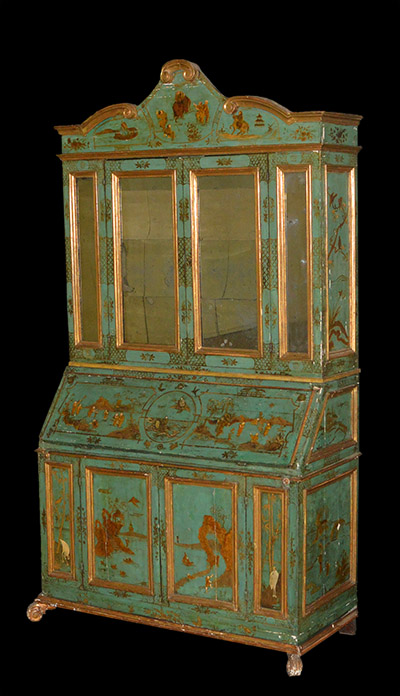 Italian, Baroque period, chinoiserie, painted and parcel-gilt secretaire bookcase