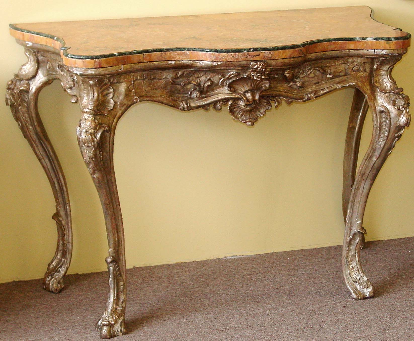 Italian rococo period silver leaf console table northern italian rococo period silver leaf console table geotapseo Choice Image