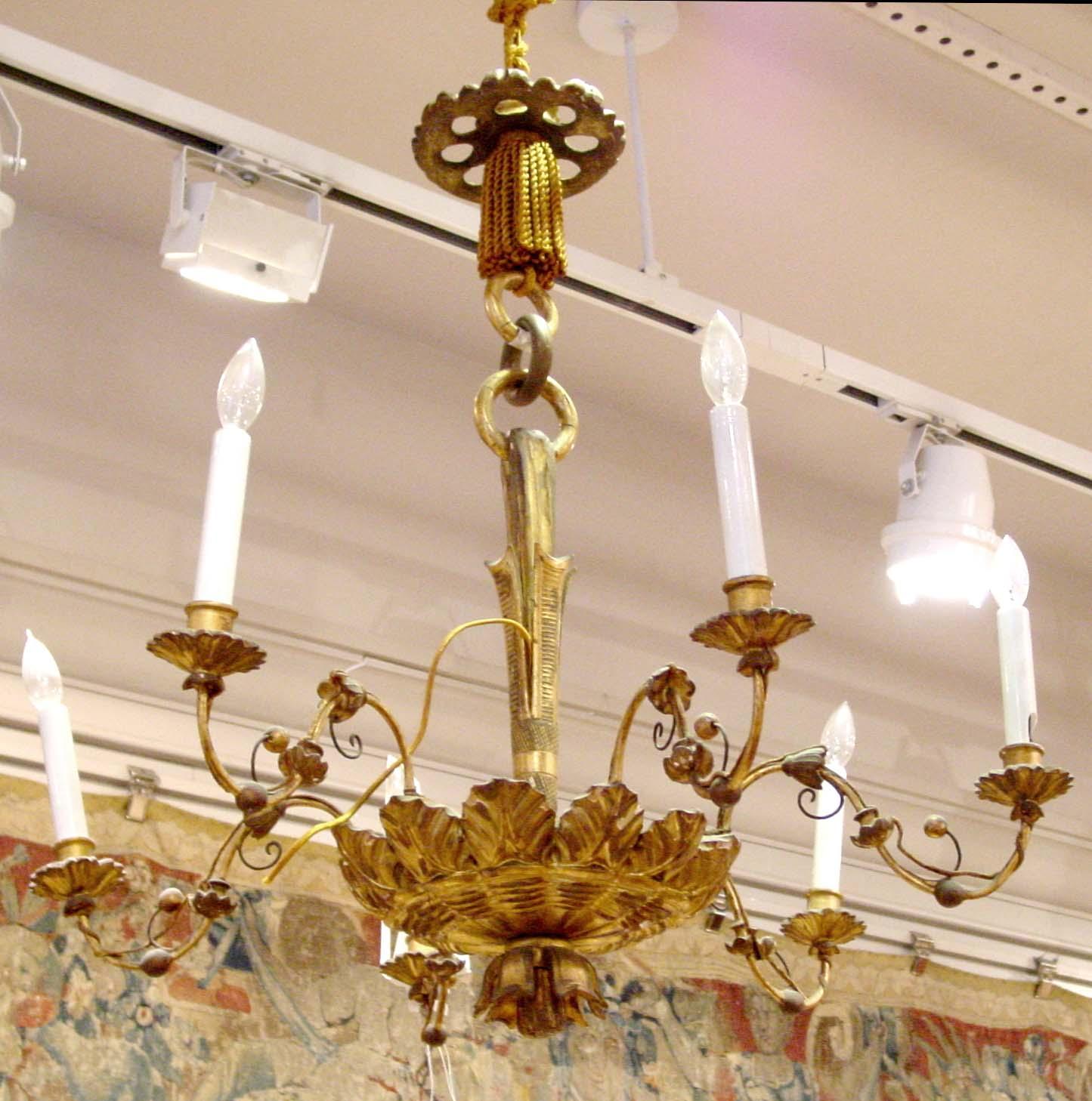 Biedermeier period giltwood six light chandelier viennese biedermeier period giltwood six light chandelier arubaitofo Choice Image