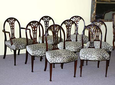 Set of eight, English, George III, dining chairs