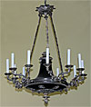 French Empire style, bronze and silver-plated (argenté) chandelier