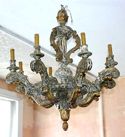 Italian, painted and parcel-gilded six-light chandelier