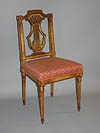 Set of ten French, Louis XVI style, giltwood, lyre-back dining chairs