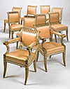 Set of ten Italian, neo-classical, cream painted and parcel gilt dining chairs
