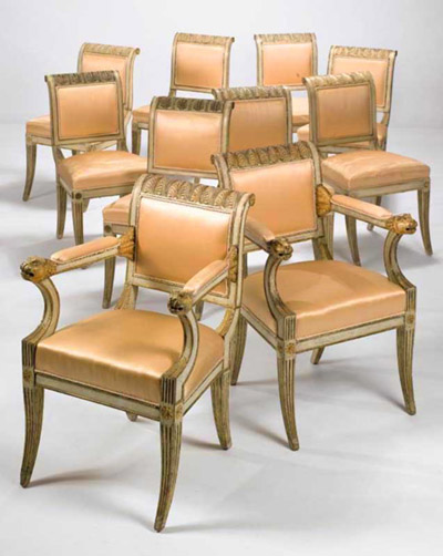 set of ten italian neo classical cream painted and parcel gilt