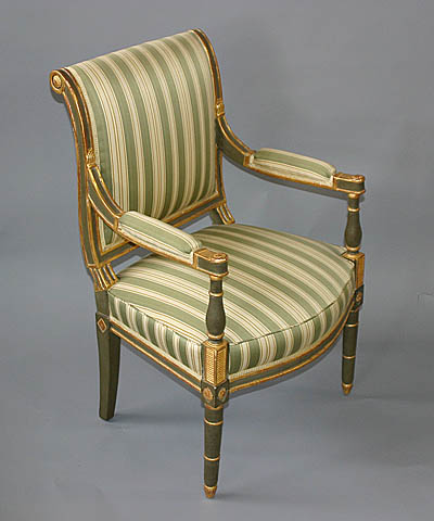 Pair of French, Jacob period, painted and parcel-gilded fauteuils stamped 'Jacob Freres Rue Meslee.' Circa 1800.