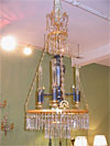 Important, French, Empire period, bronze d'ore, tole, and crystal chandelier (Lustre Argand)