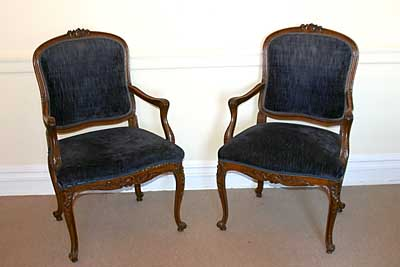 Pair of French, Louis XV style fateuils