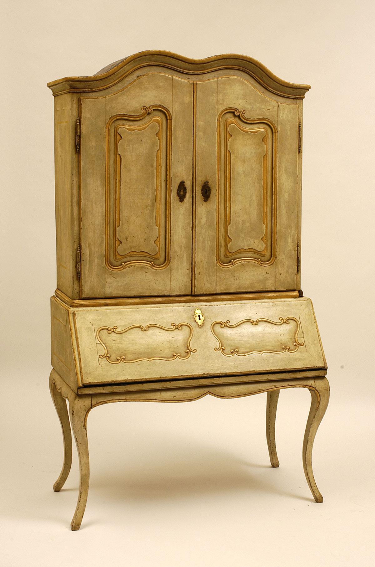 Italian louis xv period painted scriban for Italian painted furniture