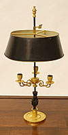 Very fine French, Empire period, gilt-bronze and patinated bronze bouillote lamp