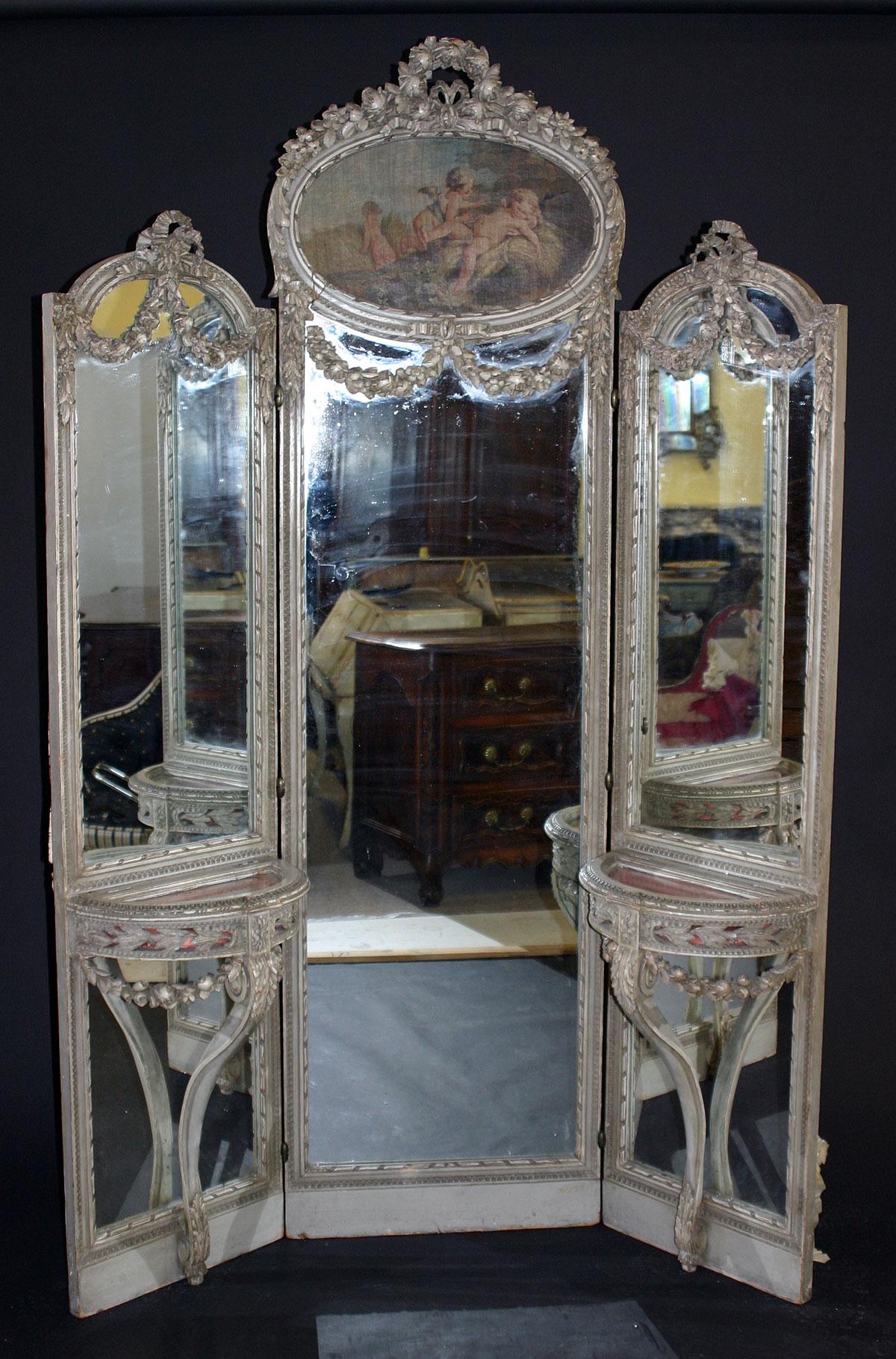 French Louis Xvi Style Tri Fold Full Length Mirror