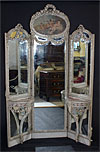 French, Louis XVI style tri-fold, full-length mirror