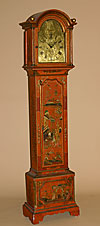 Fine, English, George III period, chinoiserie and parcel-gilt, tall-case clock