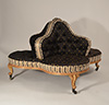 English, George IV period, giltwood and upholstered confidante