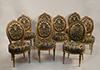 Set of eight, very fine Northern Italian, painted and parcel-gilded dining chairs