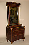 Very fine, Spanish, Neoclassical, flame mahogany and parcel-gilt coiffeuse