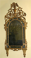 Pair of very fine, Italian, Neoclassical period, giltwood mirrors